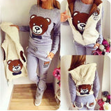 TEDDY BEAR Three-Pieces Set -Sweater,Bottoms and Hooded Vest