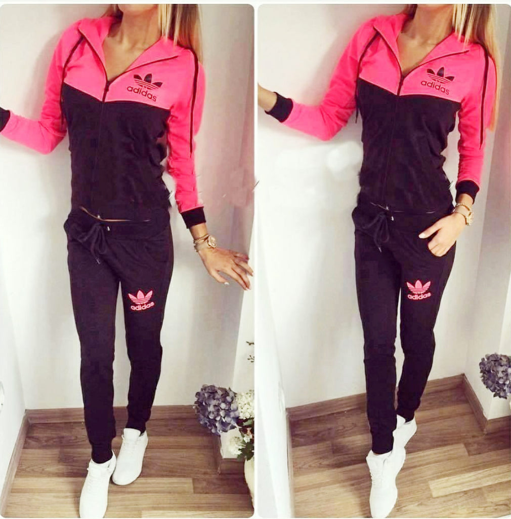 Bright pink and black set , zip and hoodie top