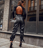 Faux Leather Black Pants