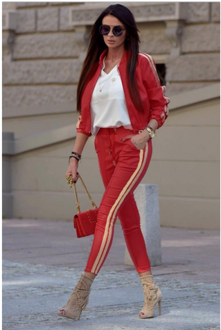 Golden Side Straps on Jacket and pants in RED