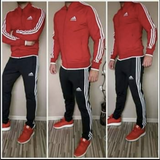 Tracksuit sports wear man - black , red and white