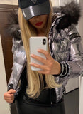 Hooded Puffer Jacket Silver