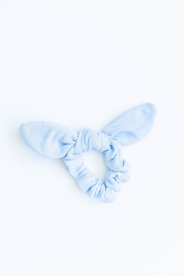 Light Blue Bow Scrunchie