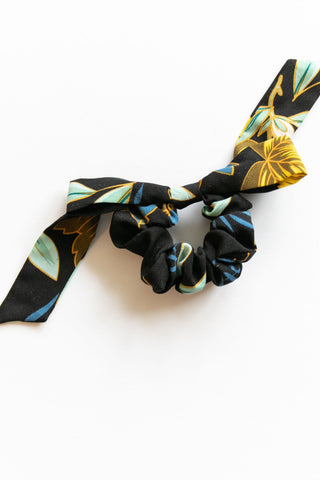 Midnight Black Floral Tie w/ Bow Scrunchie