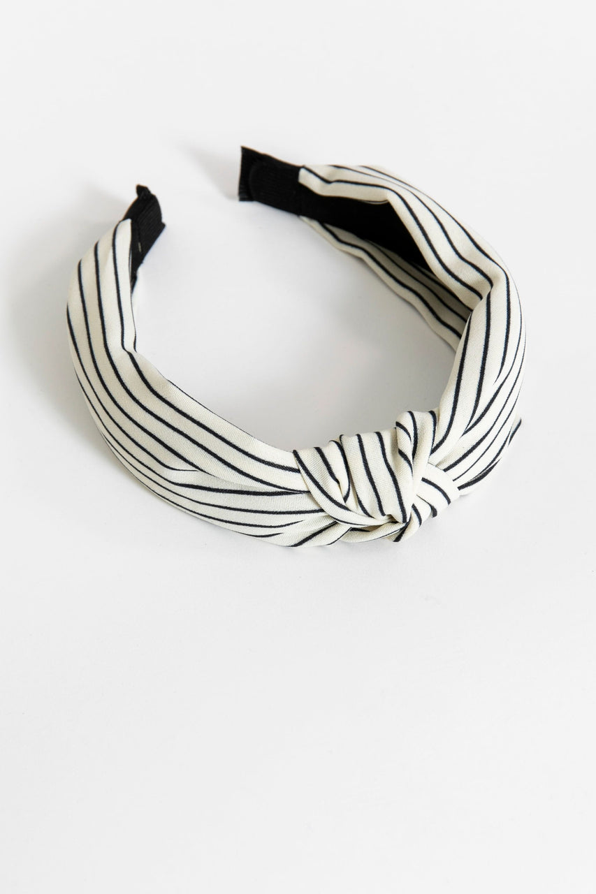 Knotted Headband Ivory/Black Stripe