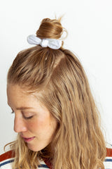White Textured Bow Scrunchie