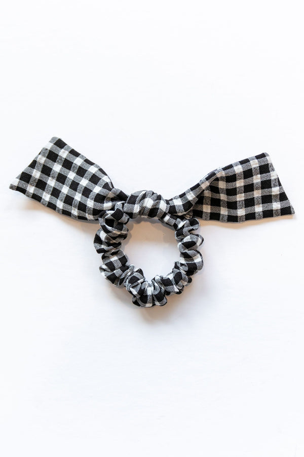 Black Gingham Bow Scrunchie