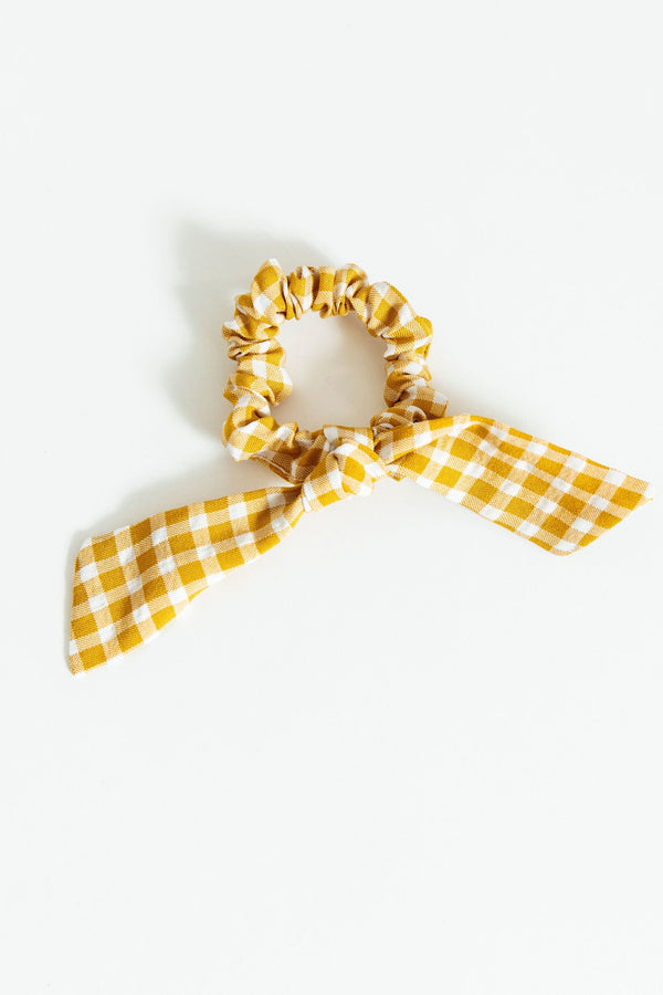 Yellow Gingham Bow Scrunchie