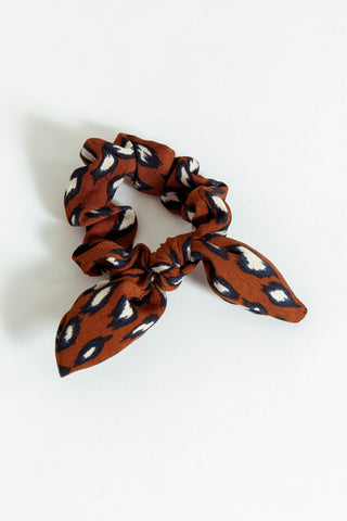 Animal Print Scrunchie Rust