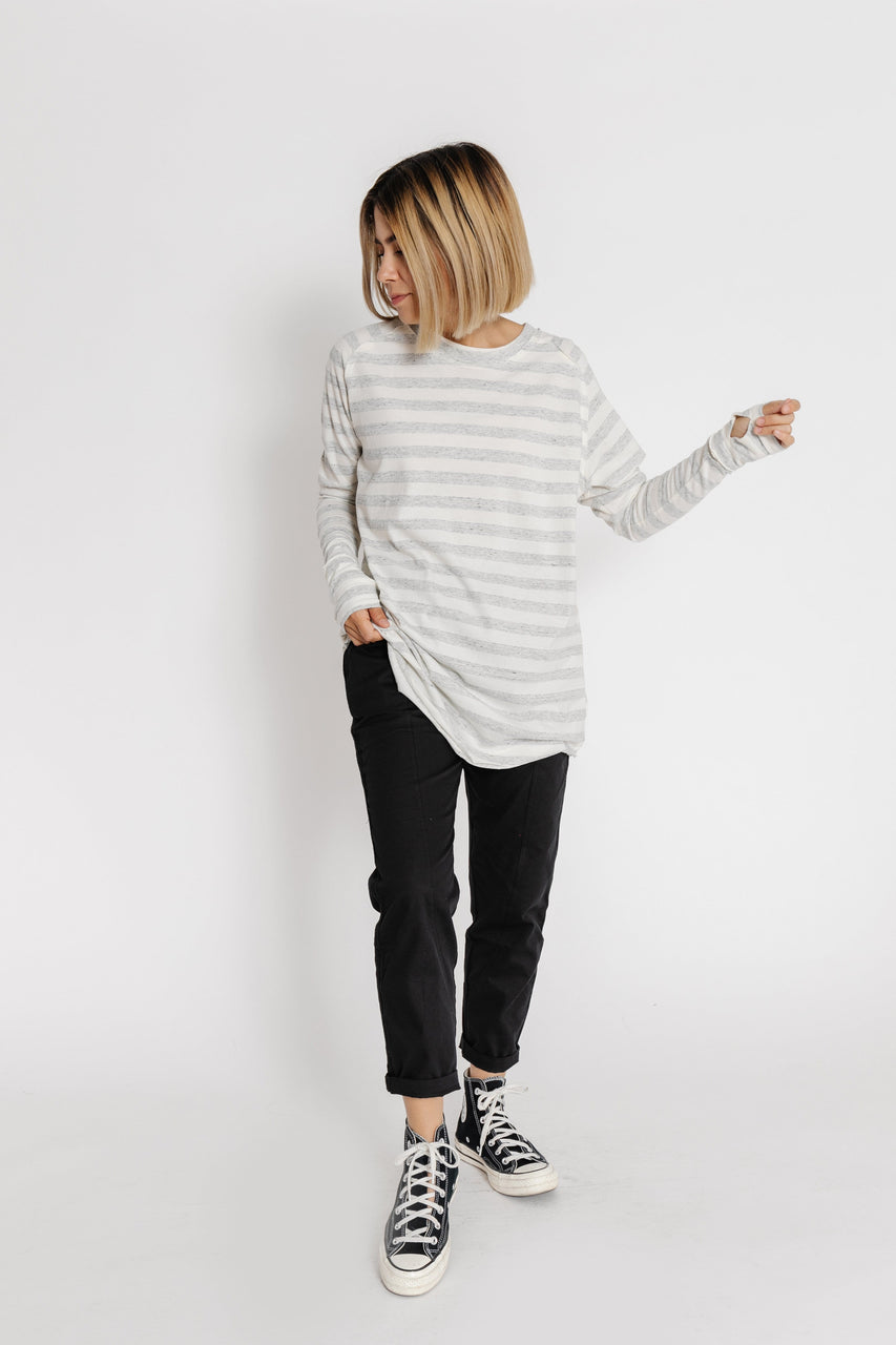 Free People Arden Striped Tee in Taupe Combo