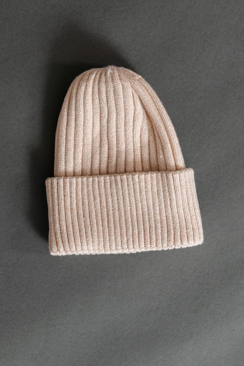 Metallic Ribbed Beanie in Ivory