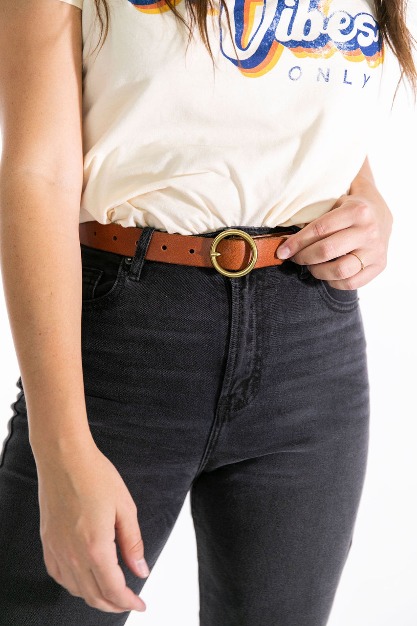 Circle Buckle Belt Tan