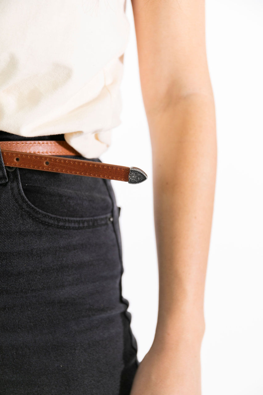 Concho Leather Belt tan