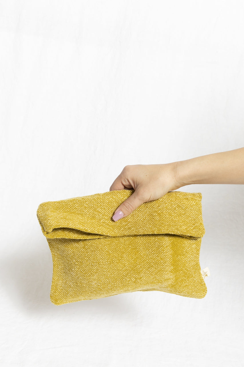 Cotton & Jute Zipper Pouch in Lemon