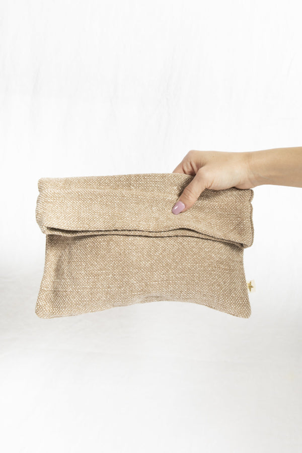 Cotton & Jute Zipper Pouch in Taupe