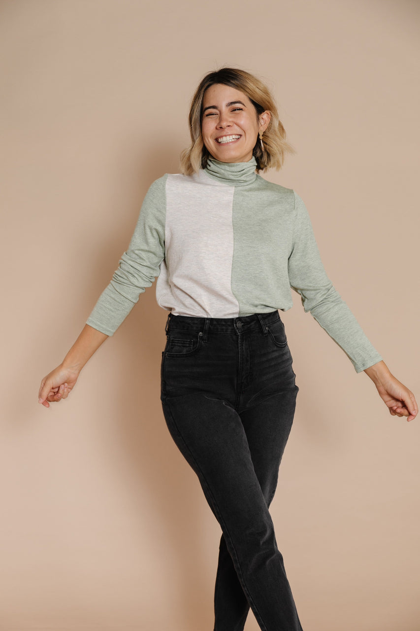 Erika Turtleneck in Sage/Heather Beige