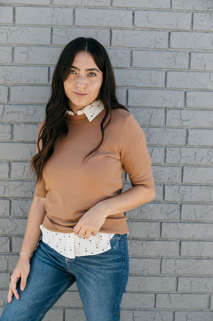 Ivy Sweater Tee in Camel