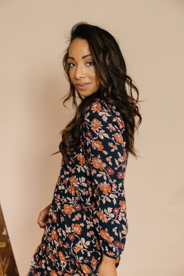 Kiara Dress in Navy Floral