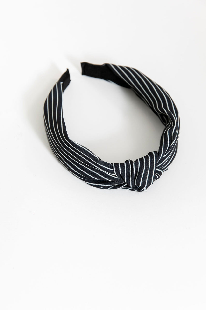 Knotted Headband Black/White Stripe