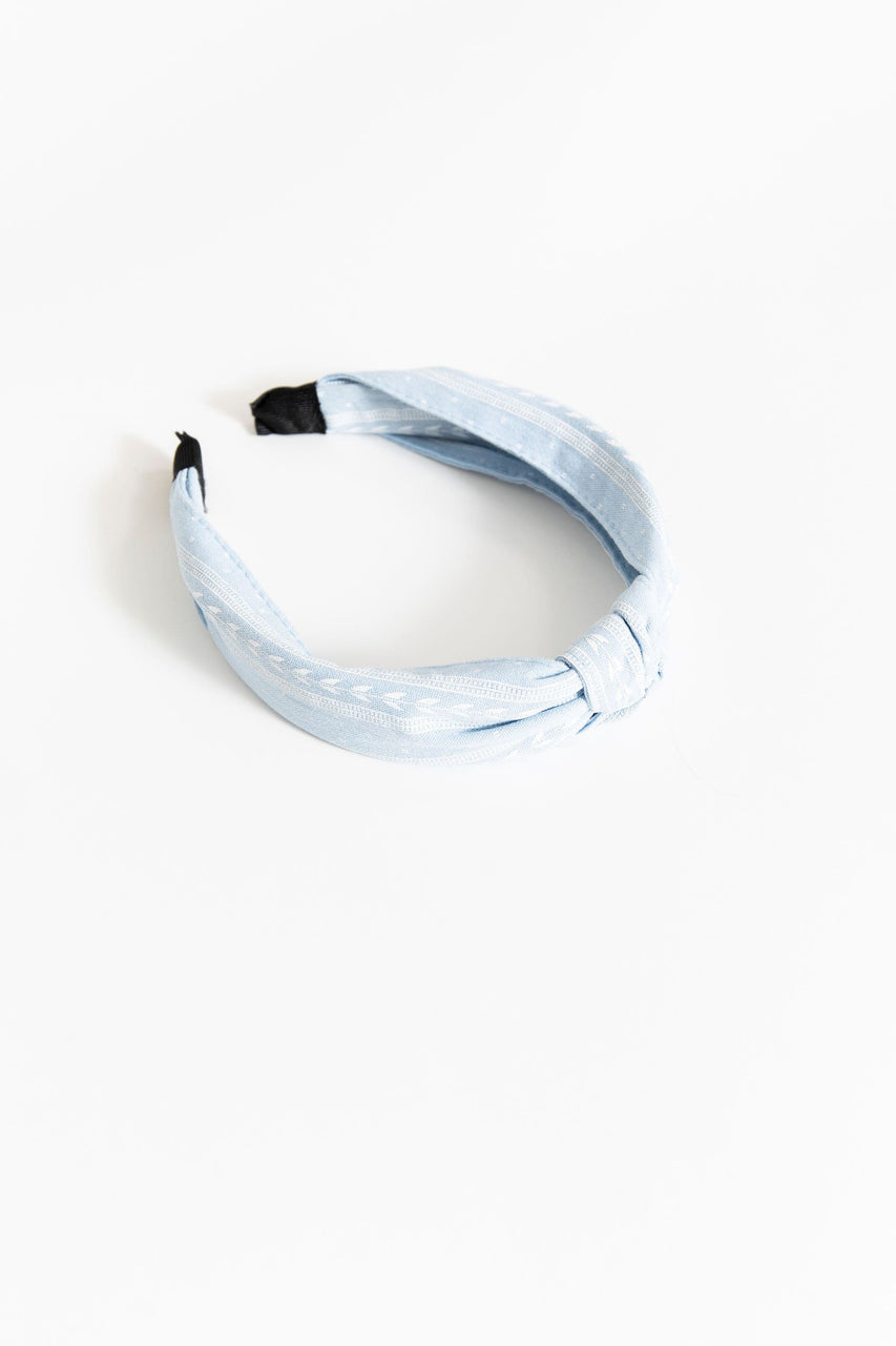 Knotted Headband Blue Pattern