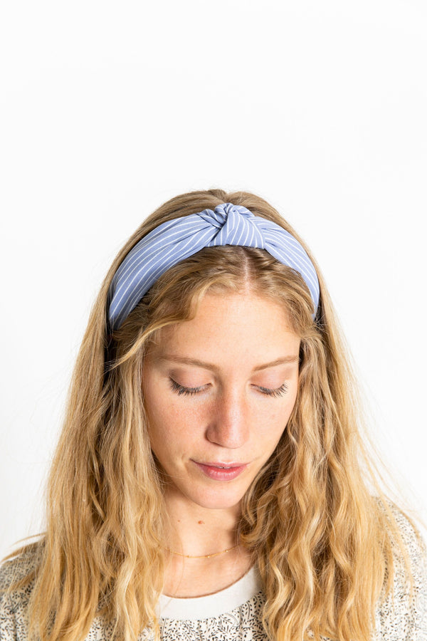 Knotted Headband Blue/White Stripe