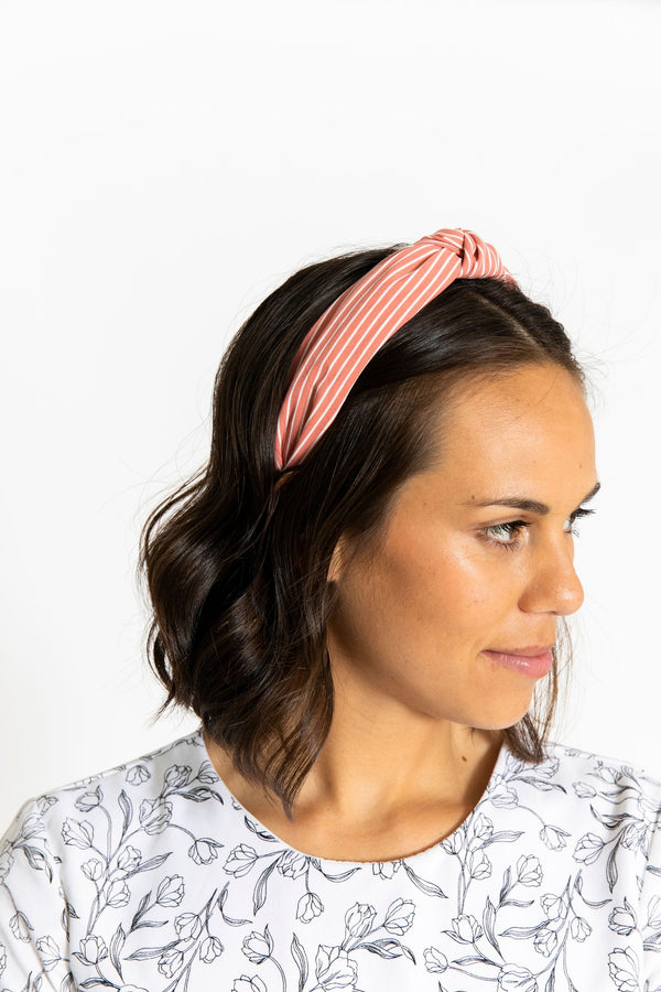 Knotted Headband Pink/White Stripe