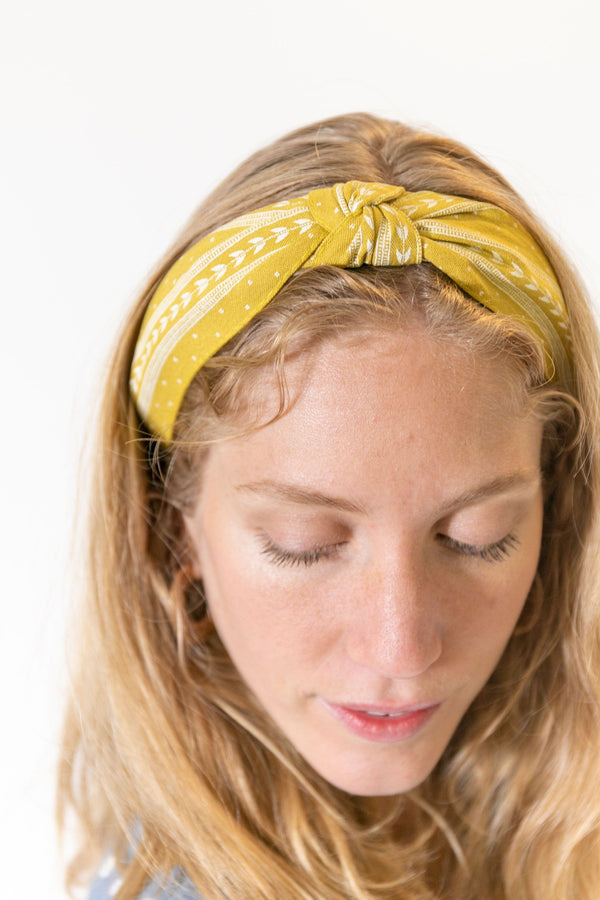 Knotted Headband Yellow Pattern