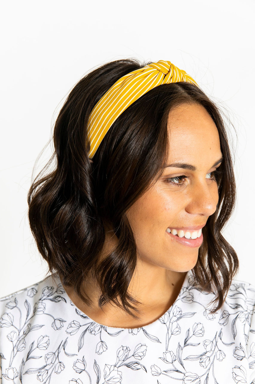 Knotted Headband Yellow/White Stripe