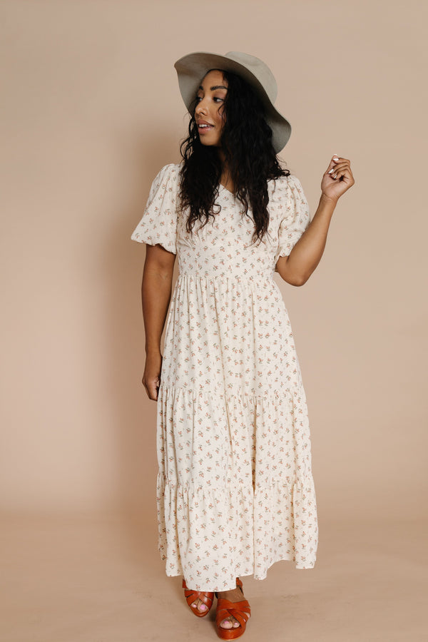 Lucy Dress in Cream Floral
