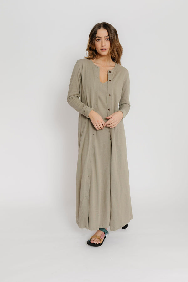 Peggy Dress & Cardigan Set in Olive