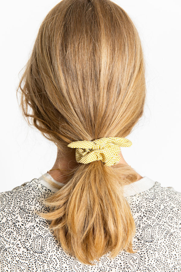 Small Yellow Gingham Bow Scrunchie