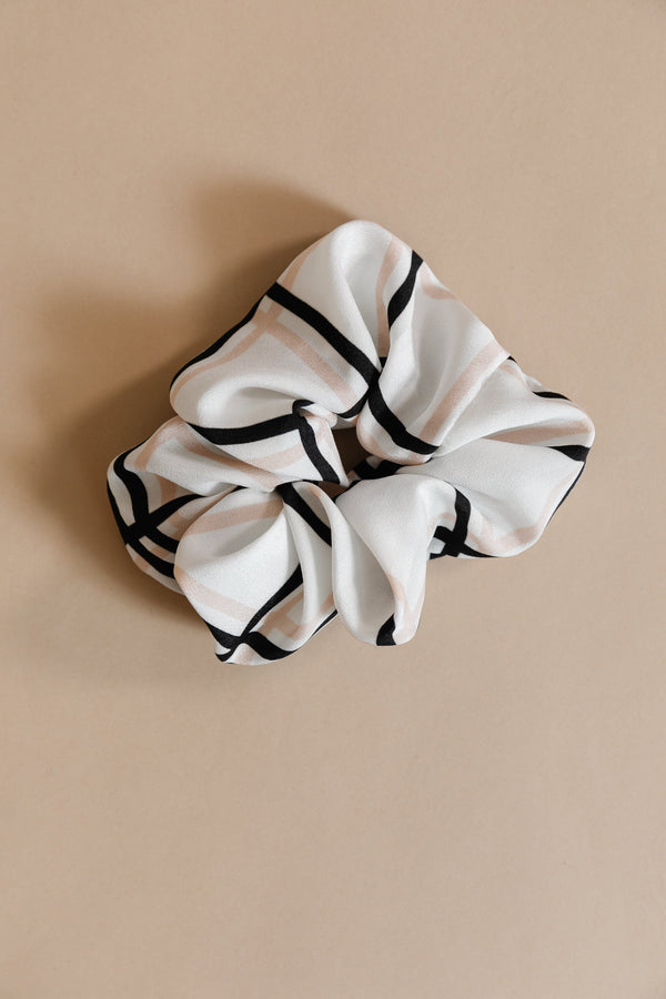Blush/Black Windowpane Scrunchie
