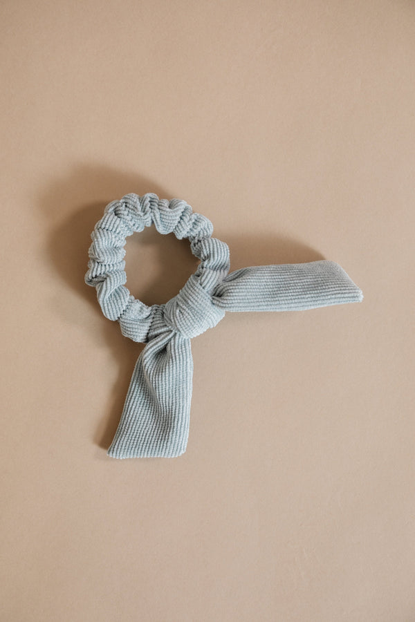 Blue Corduroy Bow Scrunchie