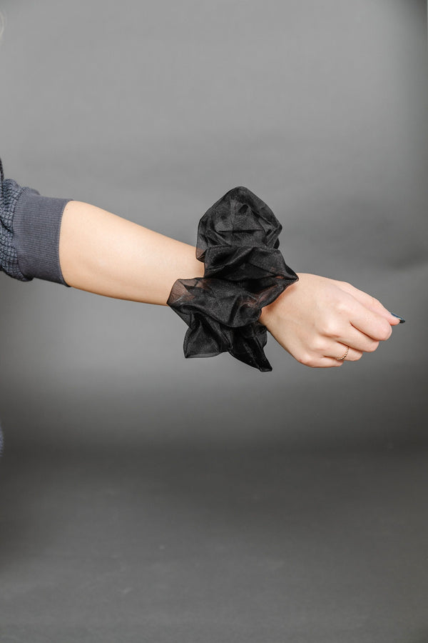 Black Oversized Sheer Scrunchie