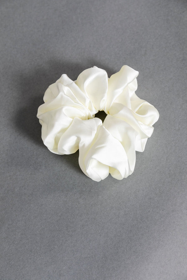 Cream Oversized Silky Scrunchie