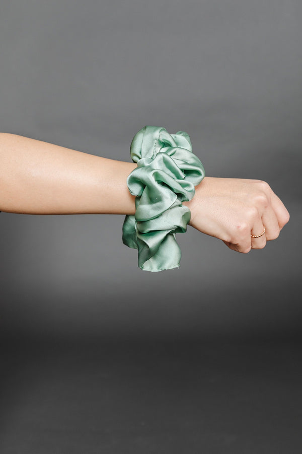 Sage Oversized Silky Scrunchie