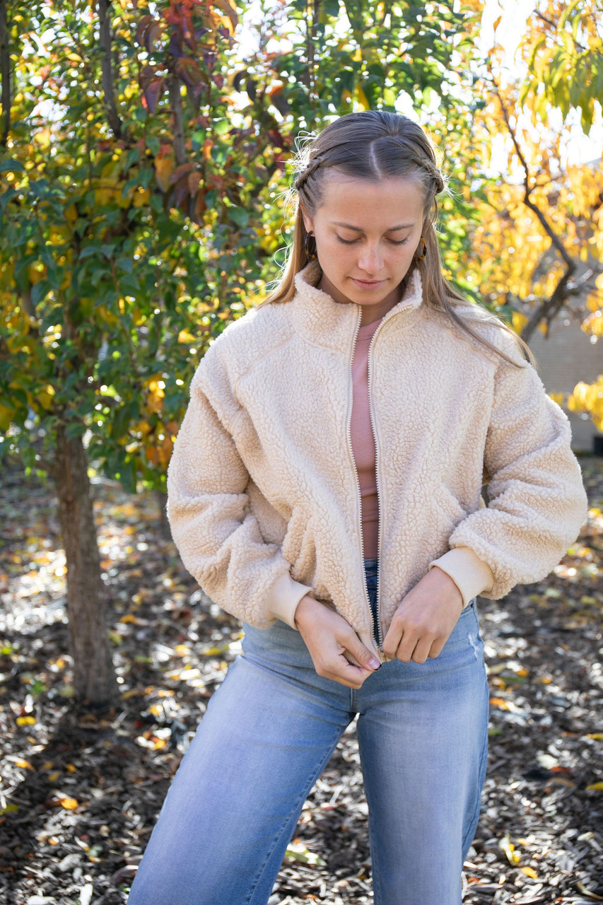 Shannon Bomber Jacket in Beige