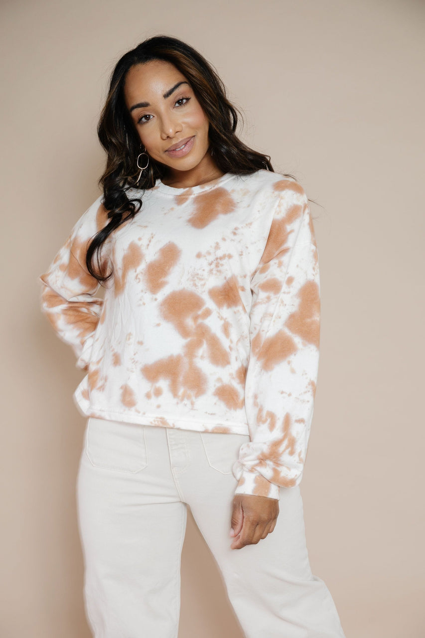 Tamara Sweatshirt in White-Mocha