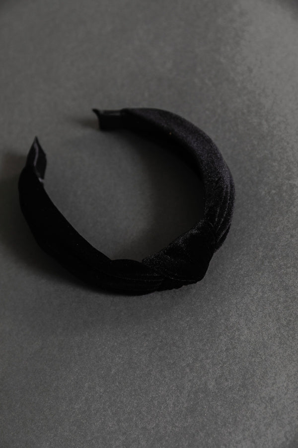 Velvet Twist Headband in Black