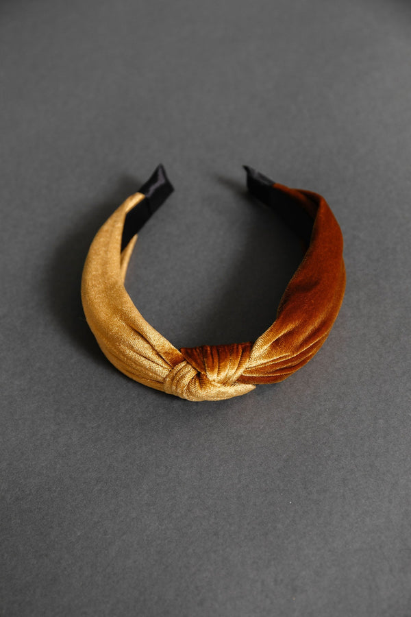 Velvet Twist Headband in Gold