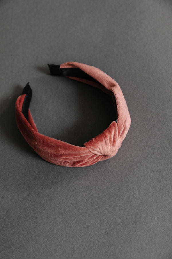 Velvet Twist Headband in Rose
