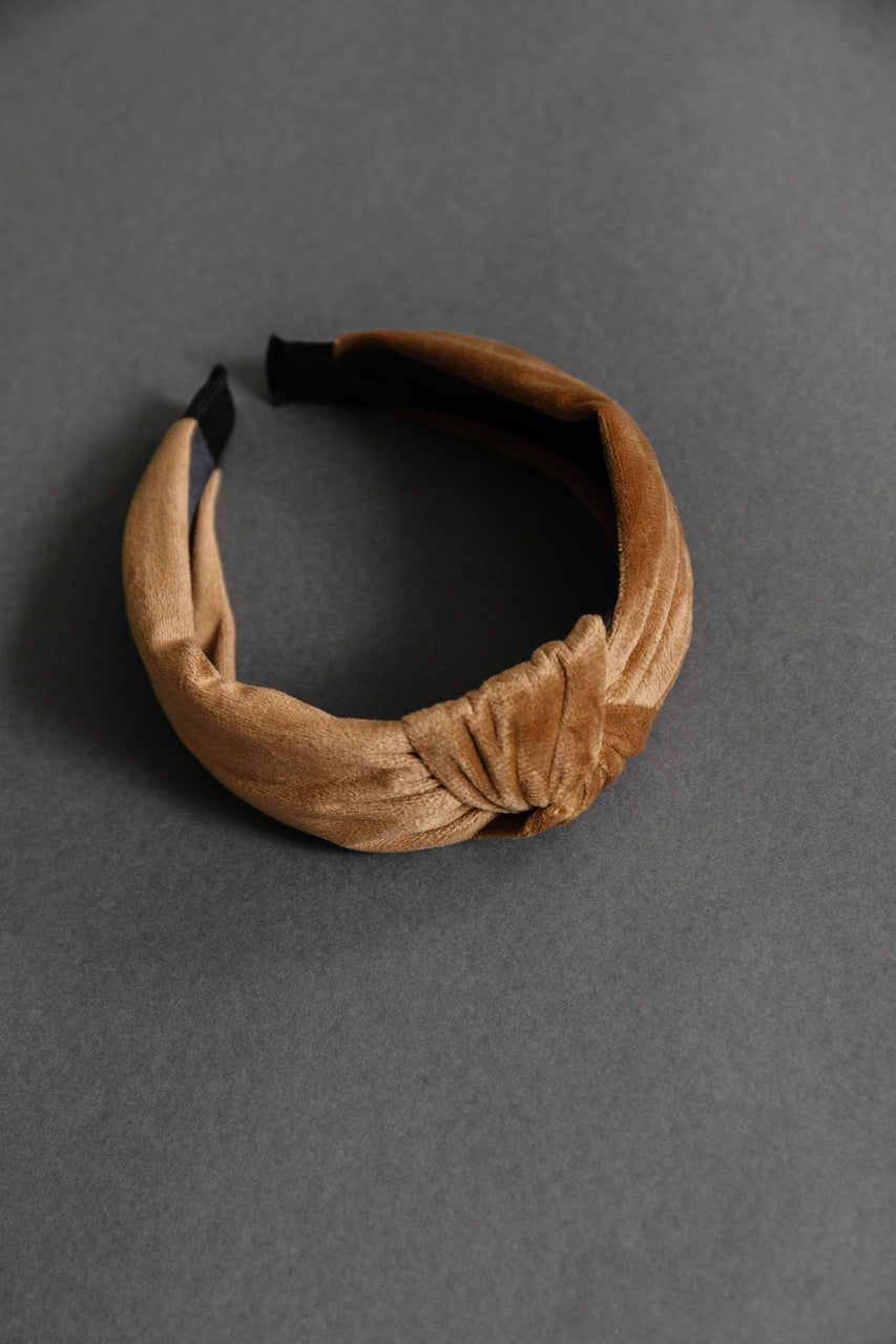 Velvet Twist Headband in Sand