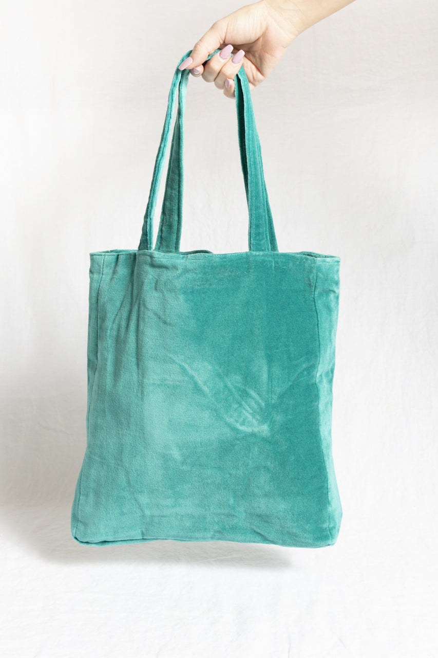 Velvet Tote Bag in Aquamarine