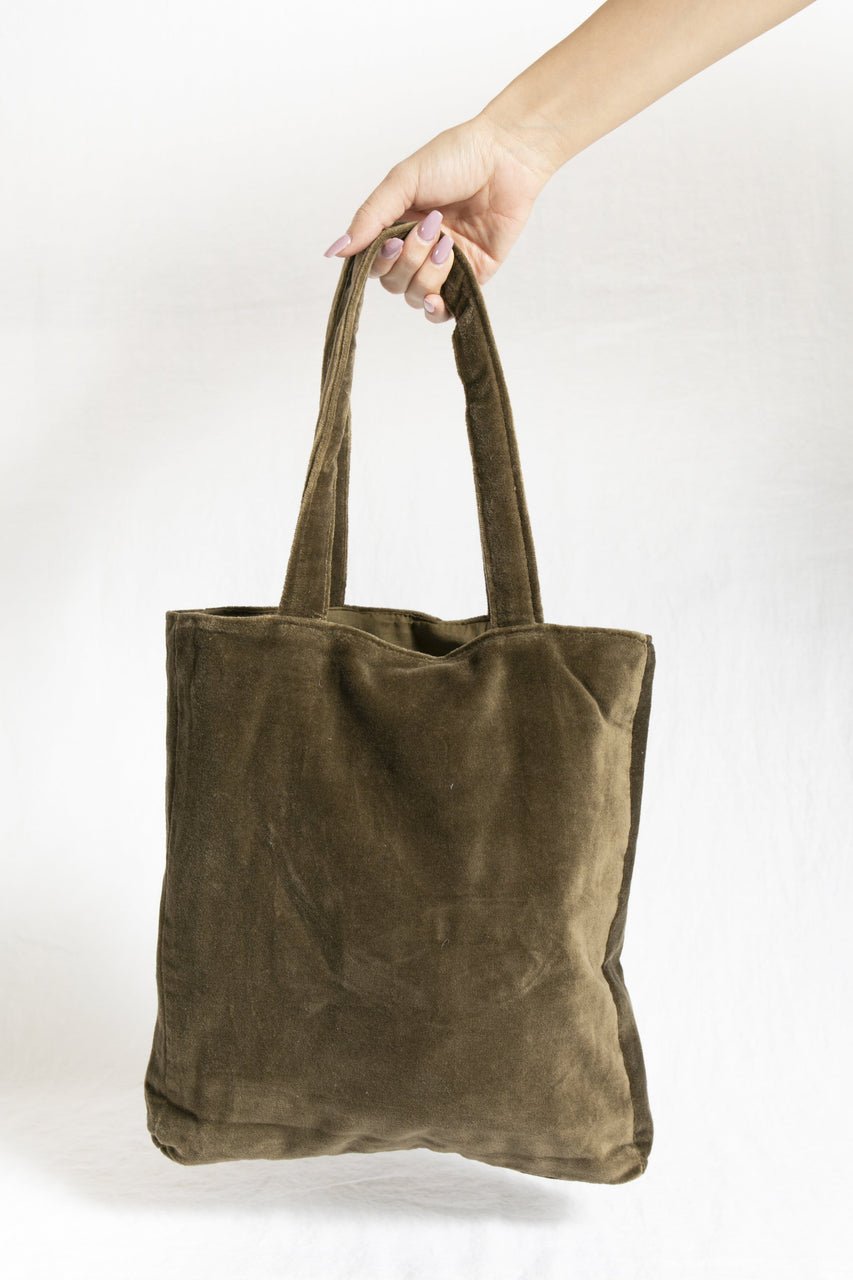 Velvet Tote Bag in Chocolate Opal