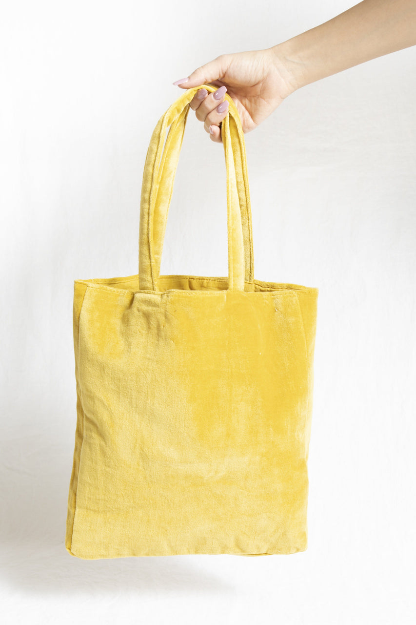 Velvet Tote Bag in Citrine