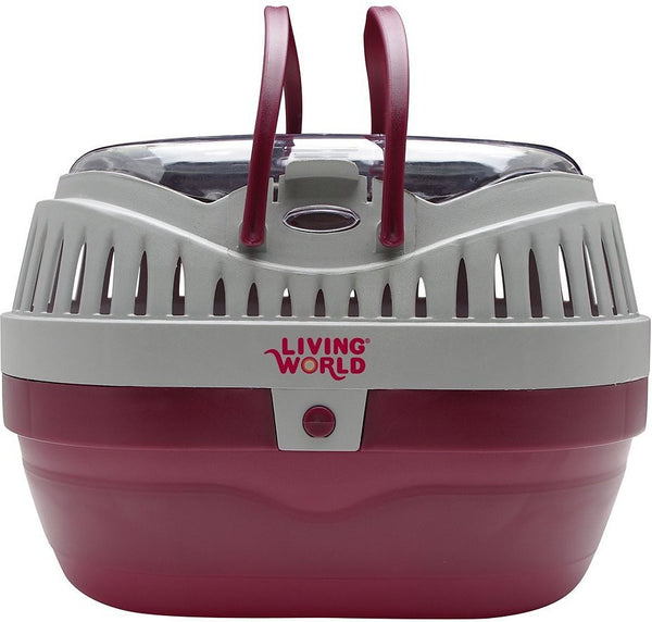 Living World Small Animal Carrier, Red & Grey, Large