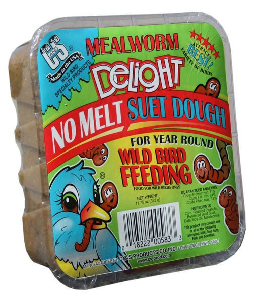 C&S Mealworm Delight No Melt Suet Dough Wild Bird Food, 11.75-oz tray