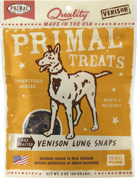 Primal Venison Lung Snaps Dry Roasted Dog Treats, 2-oz bag