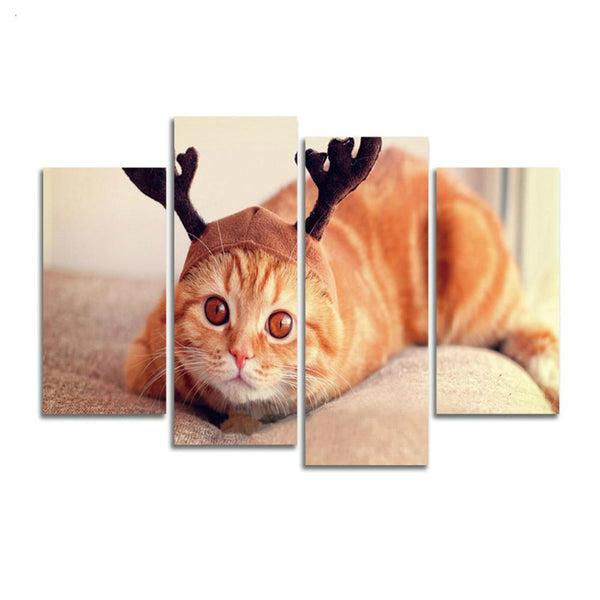 *Cute Animal Wall Canvas Art Cat Painting