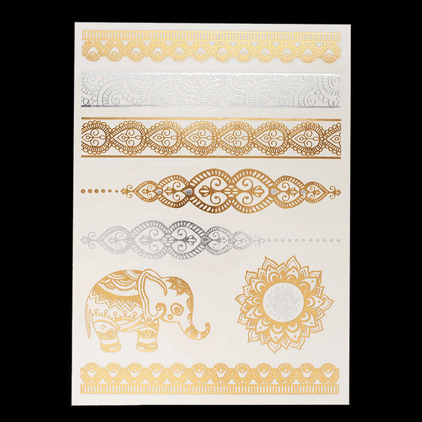 Metallic Temporary Tattoos - Elephant Imprint